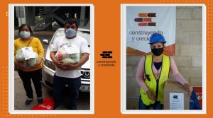 Construyendo y Creciendo entrega despensas a trabajadores de la construcción.