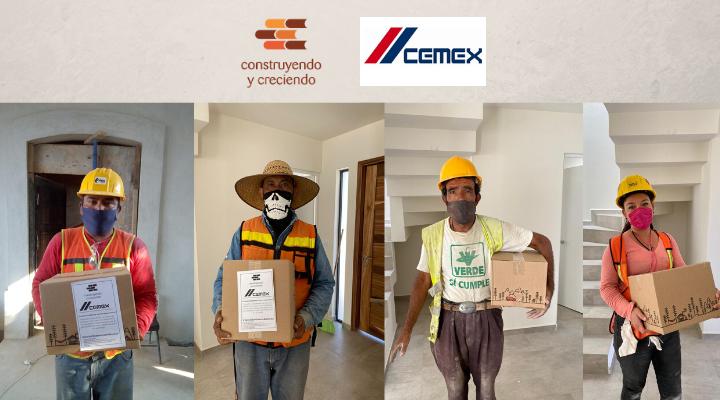 Construyendo y Creciendo en alianza con CEMEX entrega despensas a trabajadores de la construcción