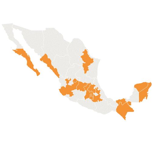 Mapa de cobertura de CyC en la República Mexicana